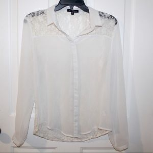 Women's White Lace Button Front Blouse Size Small